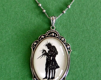 Sale 20% Off // EDWARD SCISSORHANDS No. 1 Necklace, pendant on chain - Silhouette Jewelry // Coupon Code SALE20