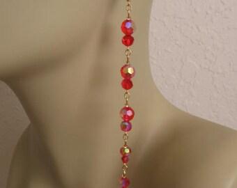 Long  Strand Chandelier Earrings - Red