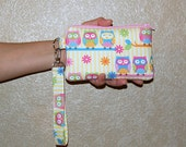Owls and Daisies - Wristlet Purse with Removable Strap and Interior Pocket