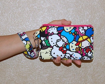 Wristlet Purse with Removable Strap and Interior Pocket - Handcrafted from Sanrio and Friends Fabric