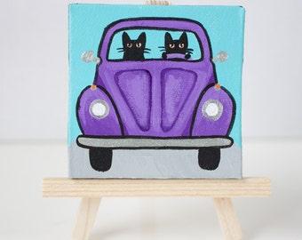 CAT Art Mini Peppy Purple Bug Cats Original Cat Folk Art Painting