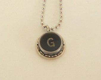 Typewriter Key Necklace -  Letter G - Vintage - Initial Jewelry -  ALL Letters Available - Typography Jewelry