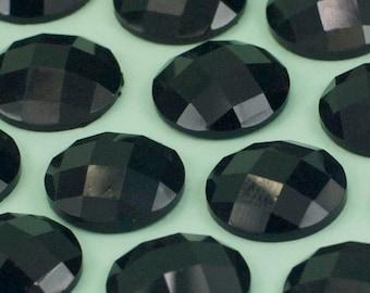 30 Vintage Black Faceted Lucite Cabochon 12mm