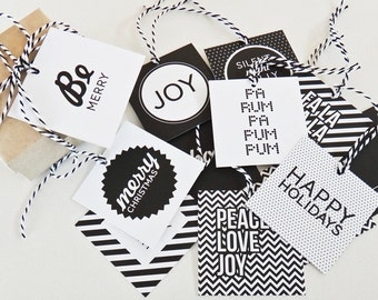 Monochrome Modern Christmas Square Gift Tags 12 pack