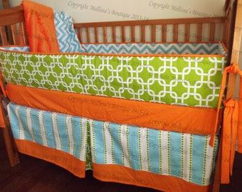NEW Custom Chevron Stripe Dot Mod Bright Palette Designer Baby Nursery Crib Bedding Set made with Designer fabric CHOOSE & CUSTOMIZE