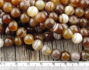 8mm Earthy Dark Brown Striped Agate beads Smooth Round Beads Banded Rustic 8 mm
