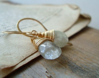 Aquamarine Teardrop Earrings 14K Gold Filled Wire Wrapped March Birthstone Gemstone Jewelry Bridesmaid Jewelry Gifts Under 100
