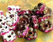 7mm - 12 pcs - Silver Patina Fuchsia Crystal Rhinestone Rondelle Spacers - Wavy Edged - Choice of Oxidized or Bright Silver - Patina Queen