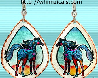 SouthWest Horse Earrings Original Art