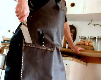Leather Work Apron with Knife Sheath Pockets