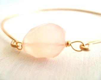 Rose quartz Bangle Pastel Pink gemstone Gold bangle Spring summer jewelry Under 45 Vitrine