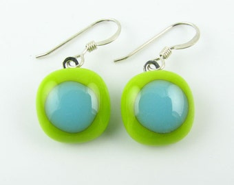 Lime/Turquoise Fused Glass Earrings. Made To Order. Fused Glass Jewelry. Handcut and Designed in Texas. Modern Earrings. Colorful Earrings.