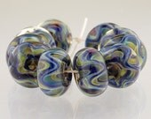 Handmade Lampwork Borosilicate Glass Beads, set of 10, Atlantis