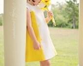 Retro  1960s Style Yellow and White  Color Block Sleeveless Cutie child children dress