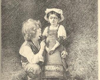 BONNAT PAUL RAJON Etching Girl and Boy ~ Steel Plate Etching~ 1800s Vintage Old Antique Art Print [Inv#iNgaL#36