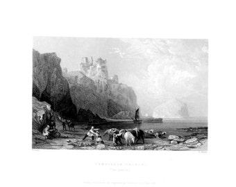 TAMTALLAN CASTLE EASTLOTHIAN  ~ Scotland Scottish Vintage Antique Art Print Steel Plate Engraving 1830s [InvSctLnd 49