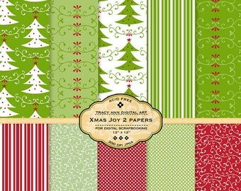 Green and Red Xmas Joy 2 Digital Scrapbook Papers Printable for card making, scrapbooking