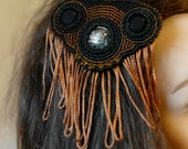 MASQ beaded steampunk fringe cabochon head piece, head accessorie in browns and blacks, fascinator, beaded hair piece