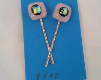 Fused Glass Bobby Pins Pink with Dichroic