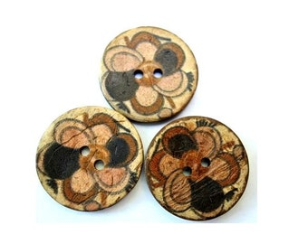 6 Buttons, coconut shell buttons flower ornament in earth colors suitable for button jewelry, 25mm