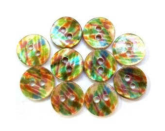 10 Shell buttons floral ornament beautiful design in assorted colors 11.5mm GREAT for button jewelry