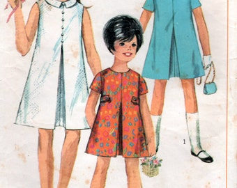 Vintage 1960s Girls Dress Aline Sewing Pattern Size 8 years Simplicity 7112