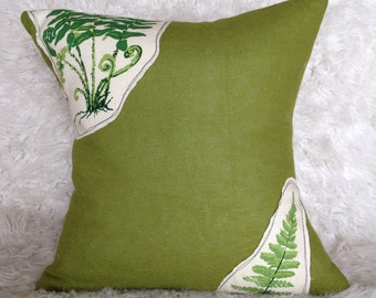 Green fern and burlap pillow cover