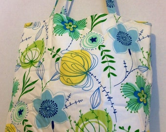 Market Tote, Grocery Tote Bag, Reusable, Eco Friendly, Blue Yellow Green print
