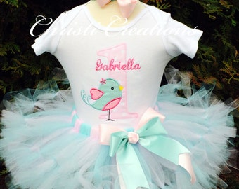 Baby Girl 1st Birthday Tutu Outfit - Little Birdy - Aqua and Pink - Cake Smash Photo Prop