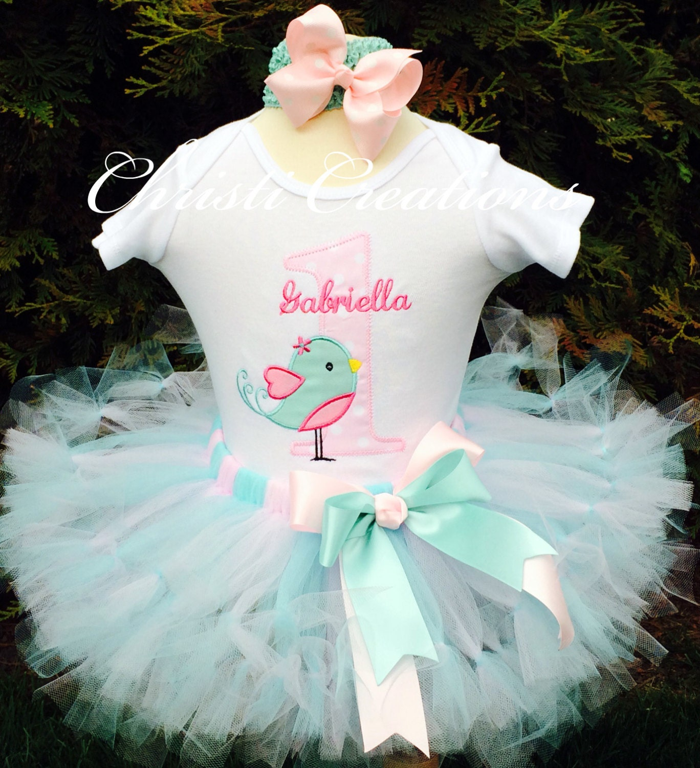 Baby Girl 1st Birthday Tutu Outfit Little Birdy Aqua And