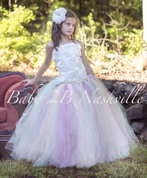 Vintage Dress Ivory Dress Rose Dress Lace Dress Tulle Dress Flower Girl Dress Party Dress Baby Dress Toddler Tutu Dress Girls Dress