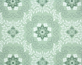 1940's Vintage Wallpaper - Green and White Geometric