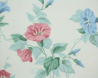 1940s Vintage Wallpaper by the Yard - Pink and Blue Morning Glories on White, Floral Wallpaper