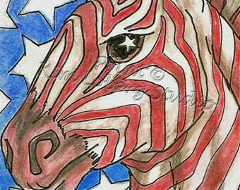 Zebra Stars Stripe Horse Africa zoo animal USA flag ACEO mini art PRINT Kim Loberg Nebraska Artist