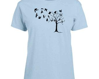 Ladies T-shirt Crows in Flight Art Sizes XS-2X