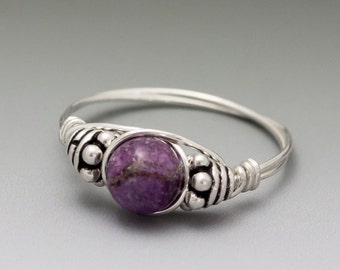 Charoite Bali Sterling Silver Wire Wrapped Bead Ring - Made to order, Ships Fast!