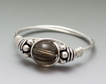 Smoky Quartz Bali Sterling Silver Wire Wrapped Ring ANY size
