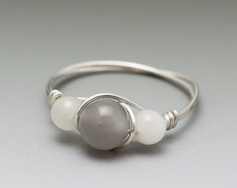 Grey & White Moonstone Sterling Silver Wire Wrapped Bead Ring - Made to Order, Ships Fast!