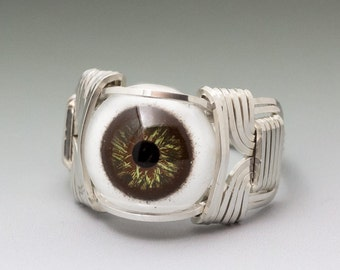 Hazel Glass Eye Eyeball Sterling Silver Wire Wrapped Ring - Made to Order and Ships Fast!