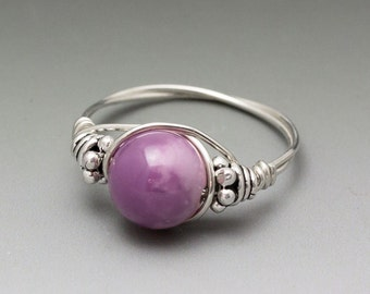 Phosphosiderite Bali Sterling Silver Wire Wrapped Bead Ring - Made to Order, Ships Fast!