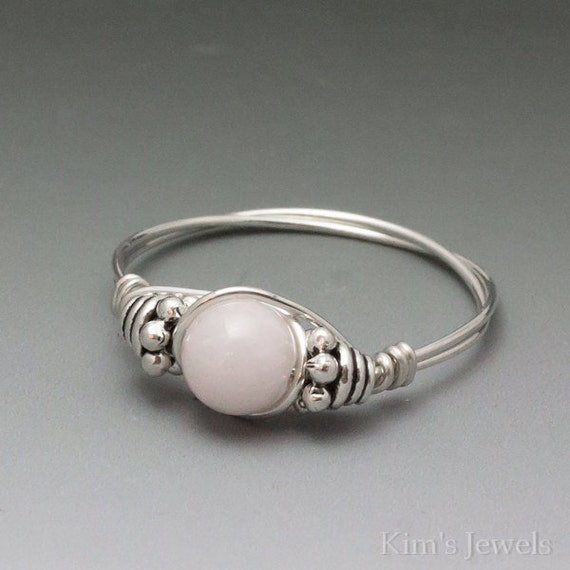 Pink Morganite Bali Sterling Silver Wire Wrapped Bead Ring - Made to Order, Ships Fast!