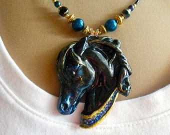 Black Arabian Horse Head Necklace, Pendant