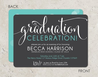 Graduation celebration invitation with a bokeh effect on the reverse