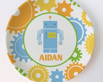 Personalized Melamine Plate - Robot - Gears
