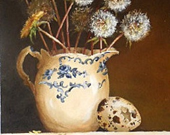 Flower pitcher painting original ooak vintage creamer dandelion bouquet and bird egg still life art