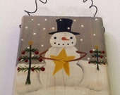 Primitive Snowman Christmas Tree Painting, Hand Painted Mini Wood Block