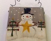 Primitive Snowman Christmas Tree Painting, Hand Painted Mini Wood Block Sale