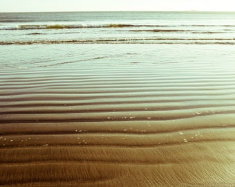 "Beach ocean photography print, California seascape beach cottage decor gold bronze coastal wall art ""Bronze Beach"""
