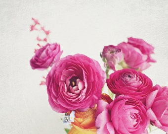 Still life photography ranunculus flowers summer floral wall art pink white bouquet 'Happy Days'