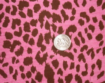 New hot pink and brown leopard on cotton jersey knit fabric 1 yard